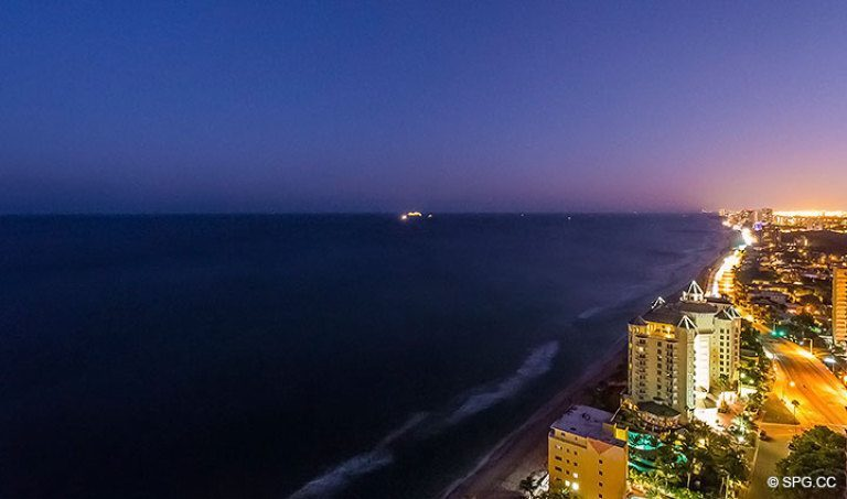 Fantastic Night Shot from Grand Penthouse 30A, Tower II at The Palms, Luxury Oceanfront Condos in Fort Lauderdale, South Florida 33305