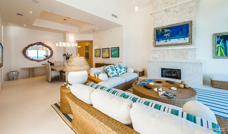 Living Room and Dining Room in Penthouse 7 at Bellaria, Luxury Oceanfront Condominiums in Palm Beach, Florida 33480.
