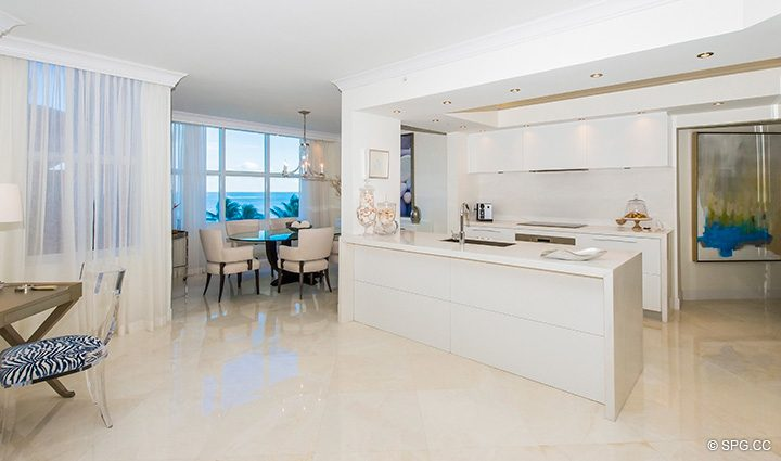 Kitchen and Dining Room in Residence 5D, Tower I at The Palms, Luxury Oceanfront Condominiums Fort Lauderdale, Florida 33305