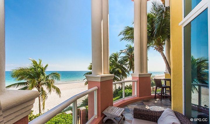 Spacious Oceanfront Terrace for Oceanfront Villa 1 at The Palms, Luxury Oceanfront Condominiums Fort Lauderdale, Florida 33305