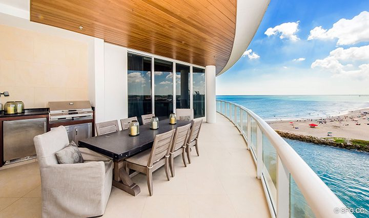 Huge Private Terrace for Residence 501 For Sale at 1000 Ocean, Luxury Oceanfront Condos in Boca Raton, Florida 33432.