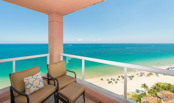 Unobstructed Ocean Views from Residence 17B, Tower II at The Palms, Luxury Oceanfront Condos in Fort Lauderdale, Florida 33305.