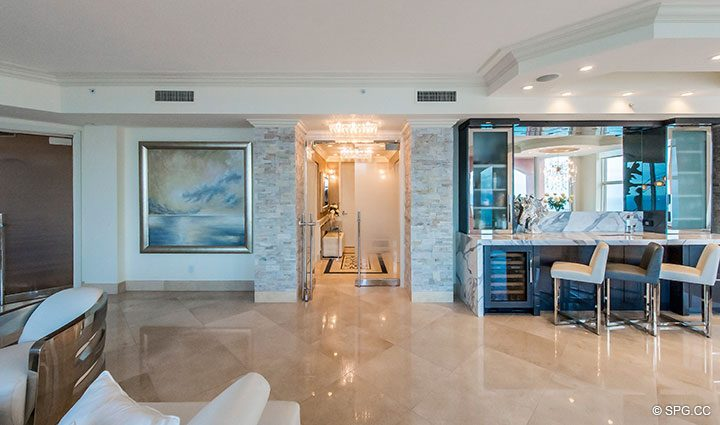 Entry into Penthouse Residence 26A, Tower I at The Palms, Luxury Oceanfront Condos in Fort Lauderdale, Florida 33305.