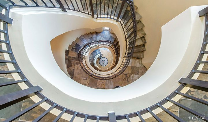Dramatic Spiral Staircase in Oceanfront Villa 1 at The Palms, Luxury Oceanfront Condominiums Fort Lauderdale, Florida 33305
