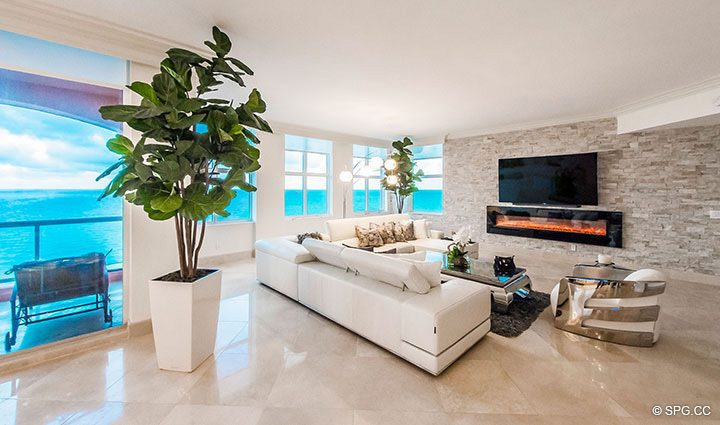 Living Room inside Penthouse Residence 26A, Tower I at The Palms, Luxury Oceanfront Condos in Fort Lauderdale, Florida 33305.