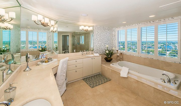 Master Bath with Whirlpool Tub in Residence 12B, Tower I at The Palms, Luxury Oceanfront Condominiums Fort Lauderdale, Florida 33305