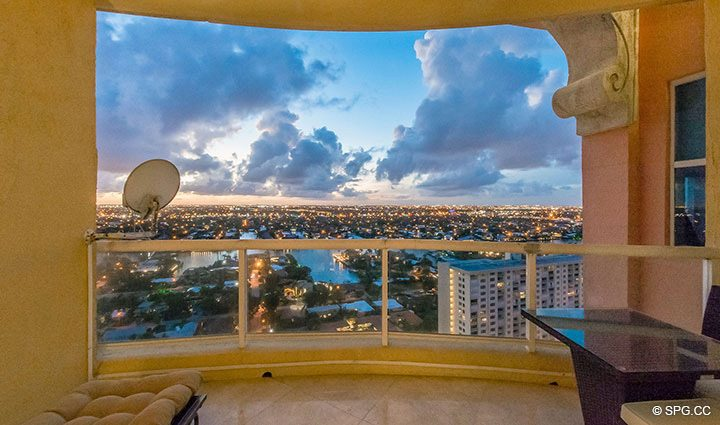 Spacious Guest Terrace for Penthouse Residence 26A, Tower I at The Palms, Luxury Oceanfront Condos in Fort Lauderdale, Florida 33305.