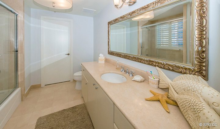 Guest Bath inside Residence 12B, Tower I at The Palms, Luxury Oceanfront Condominiums Fort Lauderdale, Florida 33305