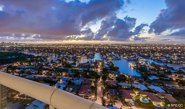 Evening Views from Penthouse Residence 26A, Tower I at The Palms, Luxury Oceanfront Condos in Fort Lauderdale, Florida 33305.