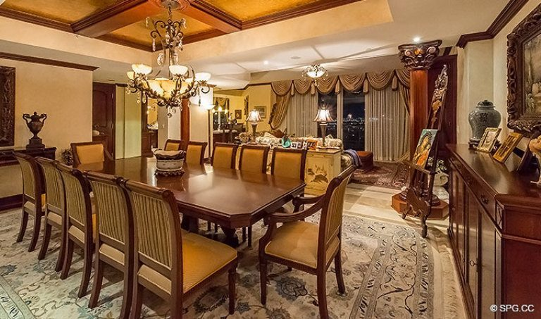 Exquisitely Decorated Dining Room for Grand Penthouse 30A, Tower II at The Palms, Luxury Oceanfront Condos in Fort Lauderdale, South Florida 33305