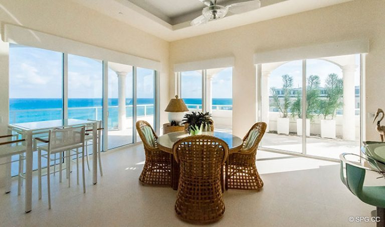 Breakfast area inside Penthouse 7 at Bellaria, Luxury Oceanfront Condominiums in Palm Beach, Florida 33480.
