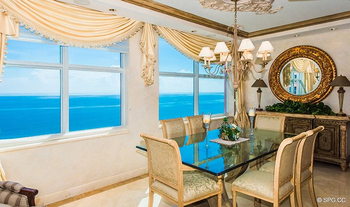 Dining Room inside Residence 18B, Tower I at The Palms, Luxury Oceanfront Condominiums Fort Lauderdale, Florida 33305