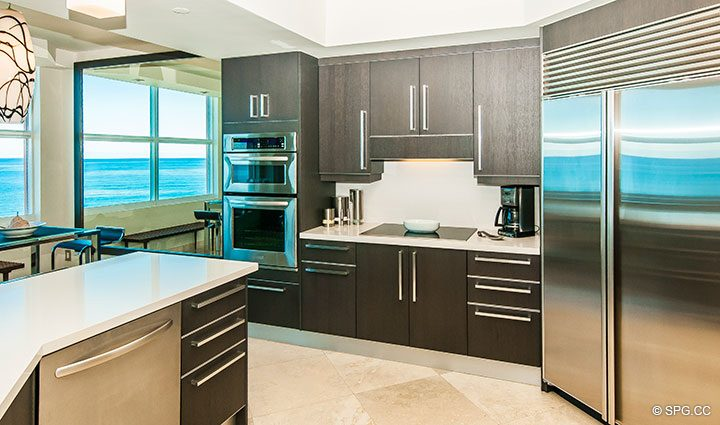 Gourmet Kitchen inside Residence 11B, Tower I at The Palms, Luxury Oceanfront Condominiums Fort Lauderdale, Florida 33305