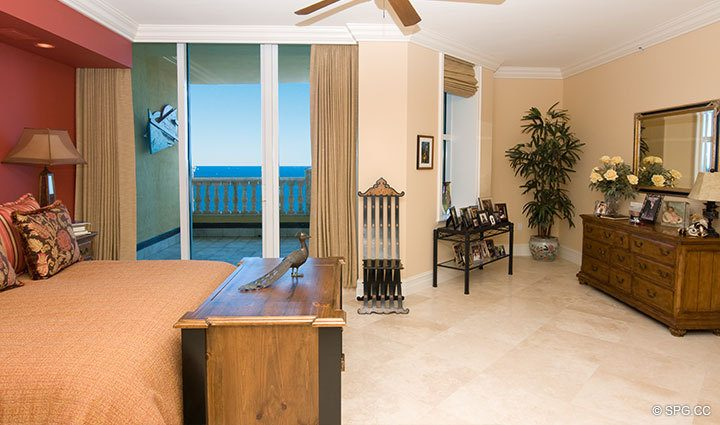 Master Bedroom at Luxury Oceanfront Residence at 25D, Tower II, The Palms Condominium, 2110 North Ocean Boulevard, Fort Lauderdale Beach, Florida 33305, Luxury Waterfront Condos