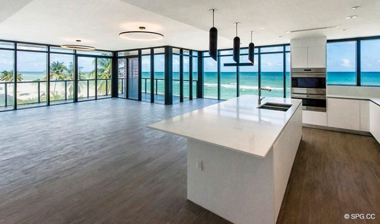 Spacious Living Area in Residence 4B at Sage Beach, Luxury Oceanfront Condominiums in Hollywood, Florida 33019