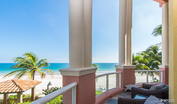 Private Beachfront Terrace for Oceanfront Villa 1 at The Palms, Luxury Oceanfront Condominiums Fort Lauderdale, Florida 33305