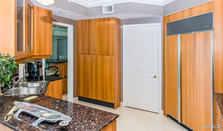Kitchen inside Residence 15E, Tower II at The Palms, Luxury Oceanfront Condos in Fort Lauderdale, Florida 33305.