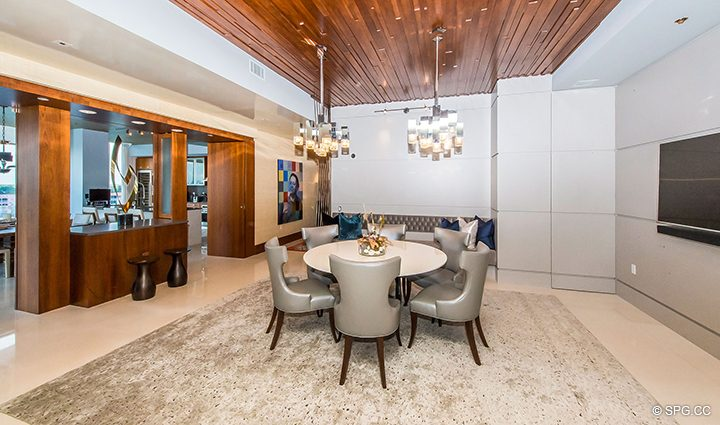 Dining Room in Residence 501 For Sale at 1000 Ocean, Luxury Oceanfront Condos in Boca Raton, Florida 33432.