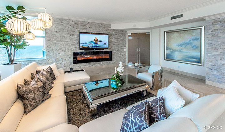 Gourgeously Designed Living Room in Penthouse Residence 26A, Tower I at The Palms, Luxury Oceanfront Condos in Fort Lauderdale, Florida 33305.