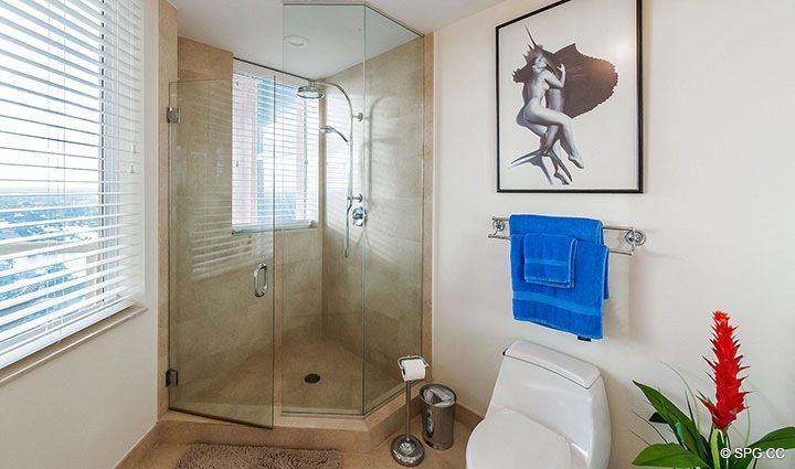 Guest Bath inside Penthouse Residence 26A, Tower I at The Palms, Luxury Oceanfront Condos in Fort Lauderdale, Florida 33305.