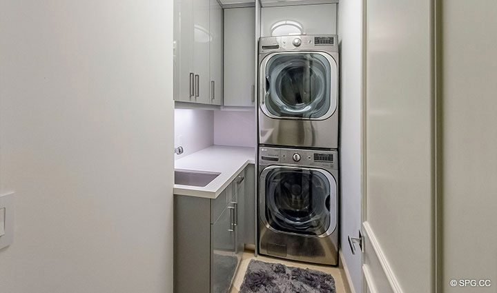 Laundry Room in Penthouse Residence 26A, Tower I at The Palms, Luxury Oceanfront Condos in Fort Lauderdale, Florida 33305.