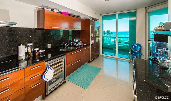 Kitchen in Residence 803 at Las Olas Beach Club, Luxury Oceanfront Condos in Fort Lauderdale, Florida 33316.