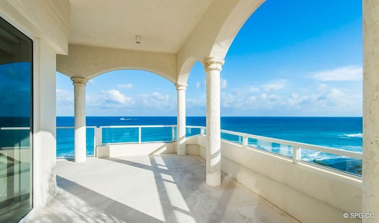 Grand Veranda with Amazing Views for Penthouse 7 at Bellaria, Luxury Oceanfront Condominiums in Palm Beach, Florida 33480.