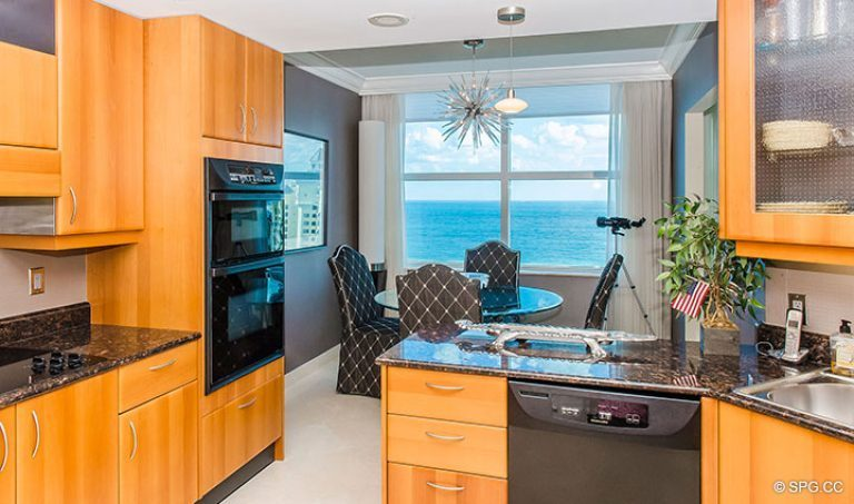 Ocean Views from Kitchen in Residence 15E, Tower II at The Palms, Luxury Oceanfront Condos in Fort Lauderdale, Florida 33305.