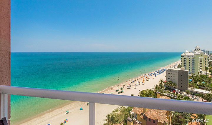 Terrace View from Residence 17B, Tower II at The Palms, Luxury Oceanfront Condos in Fort Lauderdale, Florida 33305.