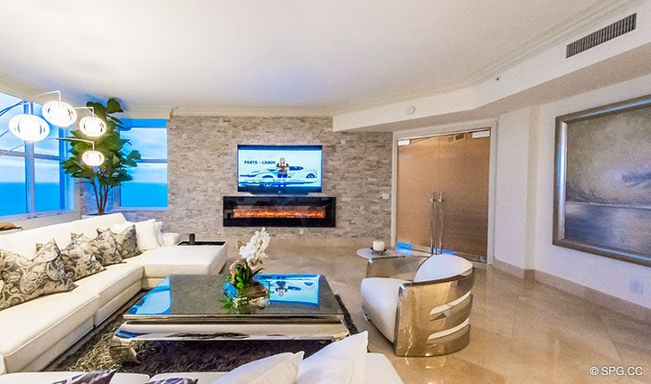 Living Room in Penthouse Residence 26A, Tower I at The Palms, Luxury Oceanfront Condos in Fort Lauderdale, Florida 33305.