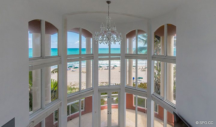 Third Floor Gallery View in Oceanfront Villa 7 at The Palms, Luxury Oceanfront Condominiums Fort Lauderdale, Florida 33305