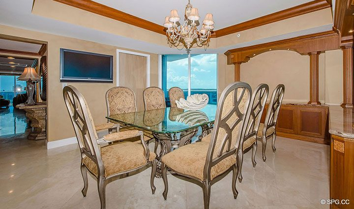 Dining Room inside Residence 1204 For Sale at Aquazul, Luxury Oceanfront Condominiums Lauderdale by the Sea, Florida 33062