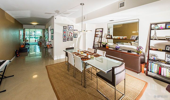 Dining Room inside Residence 803 at Las Olas Beach Club, Luxury Oceanfront Condos in Fort Lauderdale, Florida 33316.