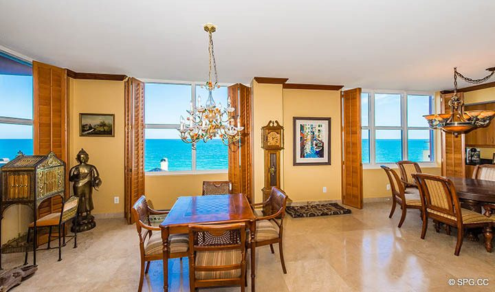 Dining Area inside Residence 9B, Tower I at The Palms, Luxury Oceanfront Condos in Fort Lauderdale, Florida 33305.