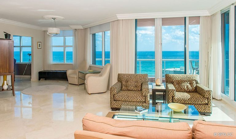 Great Room inside Residence 15E, Tower II at The Palms, Luxury Oceanfront Condos in Fort Lauderdale, Florida 33305.