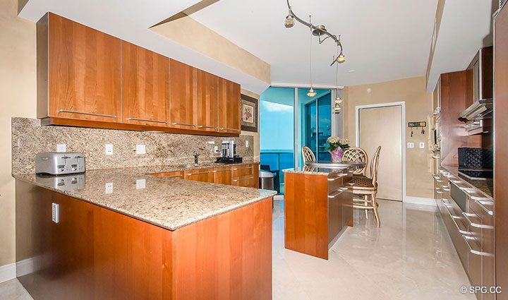 Large Gourmet Kitchen in Residence 1204 For Sale at Aquazul, Luxury Oceanfront Condominiums Lauderdale by the Sea, Florida 33062