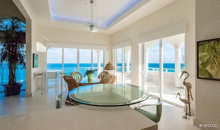 View from Kitchen bar inside Penthouse 7 at Bellaria, Luxury Oceanfront Condominiums in Palm Beach, Florida 33480.
