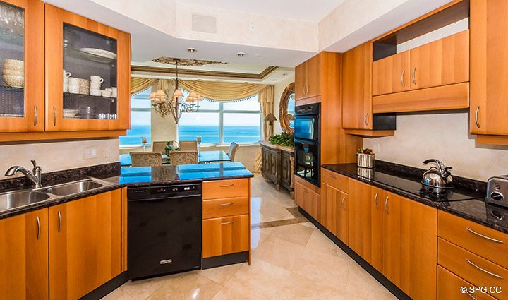 Kitchen and Dining Room in Residence 18B, Tower I at The Palms, Luxury Oceanfront Condominiums Fort Lauderdale, Florida 33305