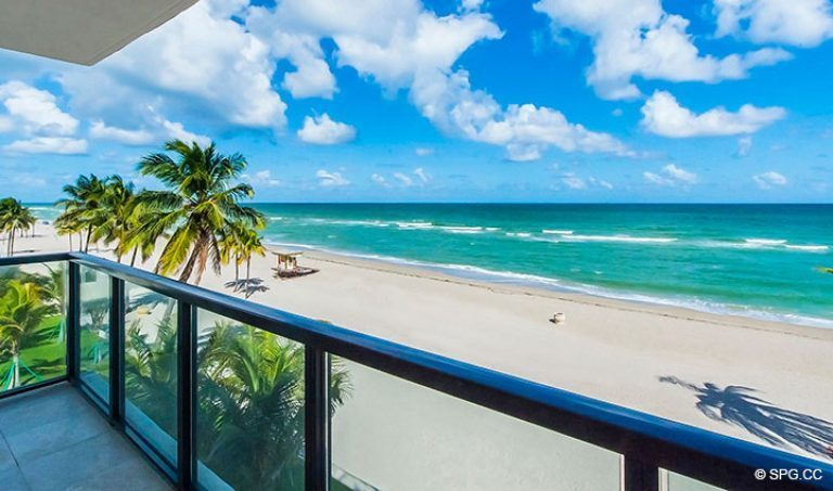 Beachfront Terrace View from Residence 4B at Sage Beach, Luxury Oceanfront Condominiums in Hollywood, Florida 33019