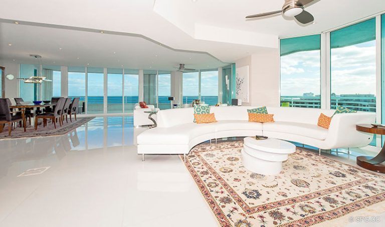 Great Room inside Residence 18D at Cristelle, Luxury Oceanfront Condominiums in Lauderdale by the Sea, Florida 33062.