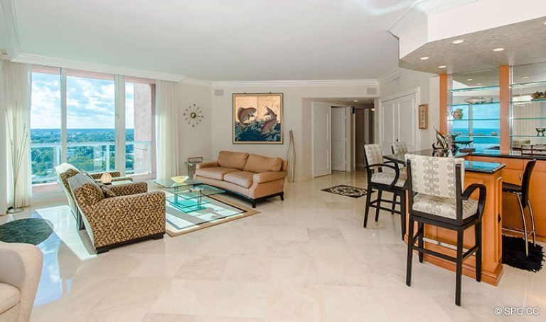 Spacious Great Room in Residence 15E, Tower II at The Palms, Luxury Oceanfront Condos in Fort Lauderdale, Florida 33305.