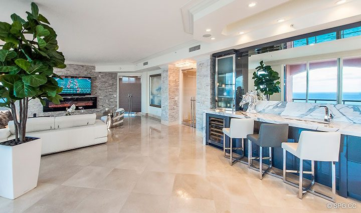 Custom Bar inside Penthouse Residence 26A, Tower I at The Palms, Luxury Oceanfront Condos in Fort Lauderdale, Florida 33305.