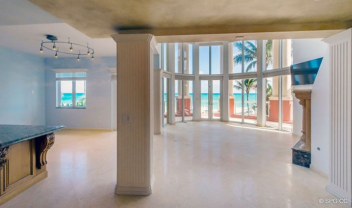 Entry into Second Floor Living Area inOceanfront Villa 7 at The Palms, Luxury Oceanfront Condominiums Fort Lauderdale, Florida 33305