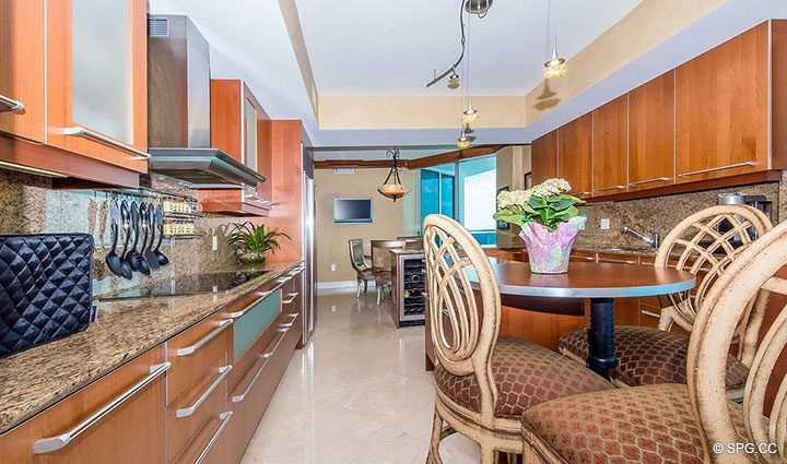 Kitchen with Breakfast Area in Residence 1204 For Sale at Aquazul, Luxury Oceanfront Condominiums Lauderdale by the Sea, Florida 33062