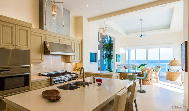 Gourmet kitchen inside Penthouse 7 at Bellaria, Luxury Oceanfront Condominiums in Palm Beach, Florida 33480.