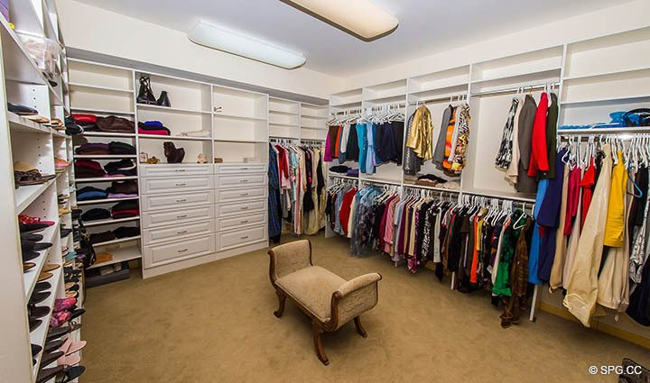 Huge Master Wardrobe in Residence 9B, Tower I at The Palms, Luxury Oceanfront Condos in Fort Lauderdale, Florida 33305.