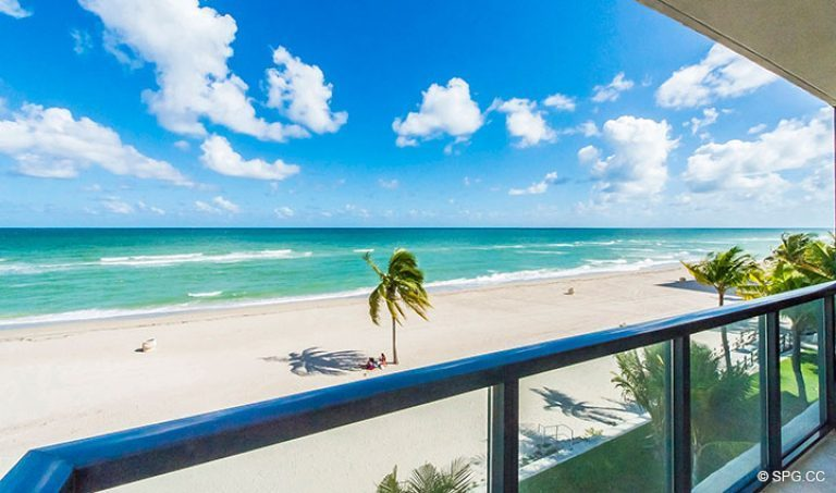 Direct Ocean Views from Residence 4B at Sage Beach, Luxury Oceanfront Condominiums in Hollywood, Florida 33019
