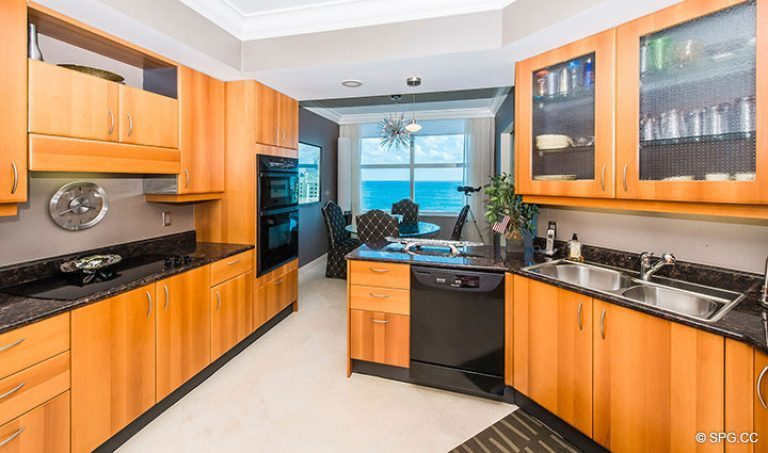 Gourmet Kitchen inside Residence 15E, Tower II at The Palms, Luxury Oceanfront Condos in Fort Lauderdale, Florida 33305.