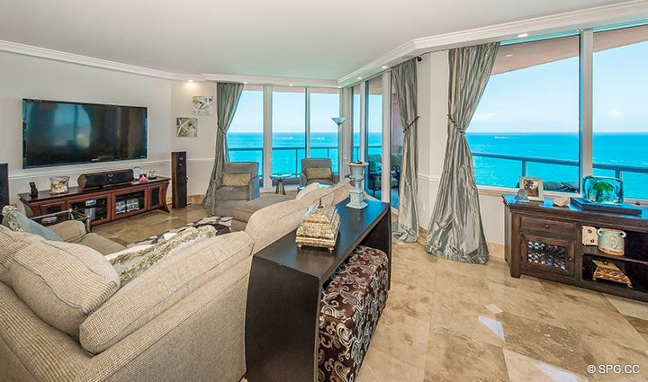 Expansive Ocean Views from Residence 17B, Tower II at The Palms, Luxury Oceanfront Condos in Fort Lauderdale, Florida 33305.