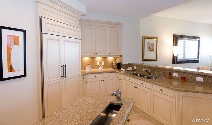 Kitchen inside Residence 304 at Bellaria, Luxury Oceanfront Condominiums in Palm Beach, Florida 33480.